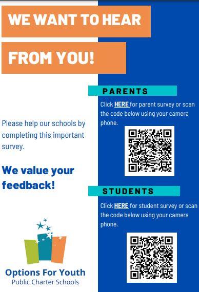 Parent Survey Link: https://forms.gle/AtB4rXoJPqq Jr KpH7  Student Survey Link: https://forms.gle/xpxU8KNt7Ks3iQR88